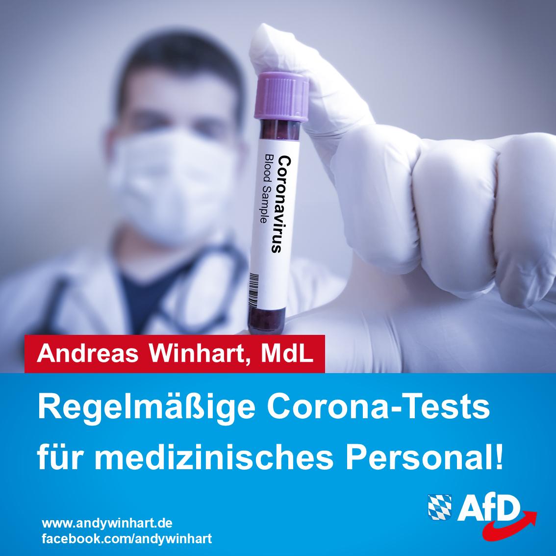 AfD fordert regelmäßige Tests für Mitarbeiter des Gesundheitswesens