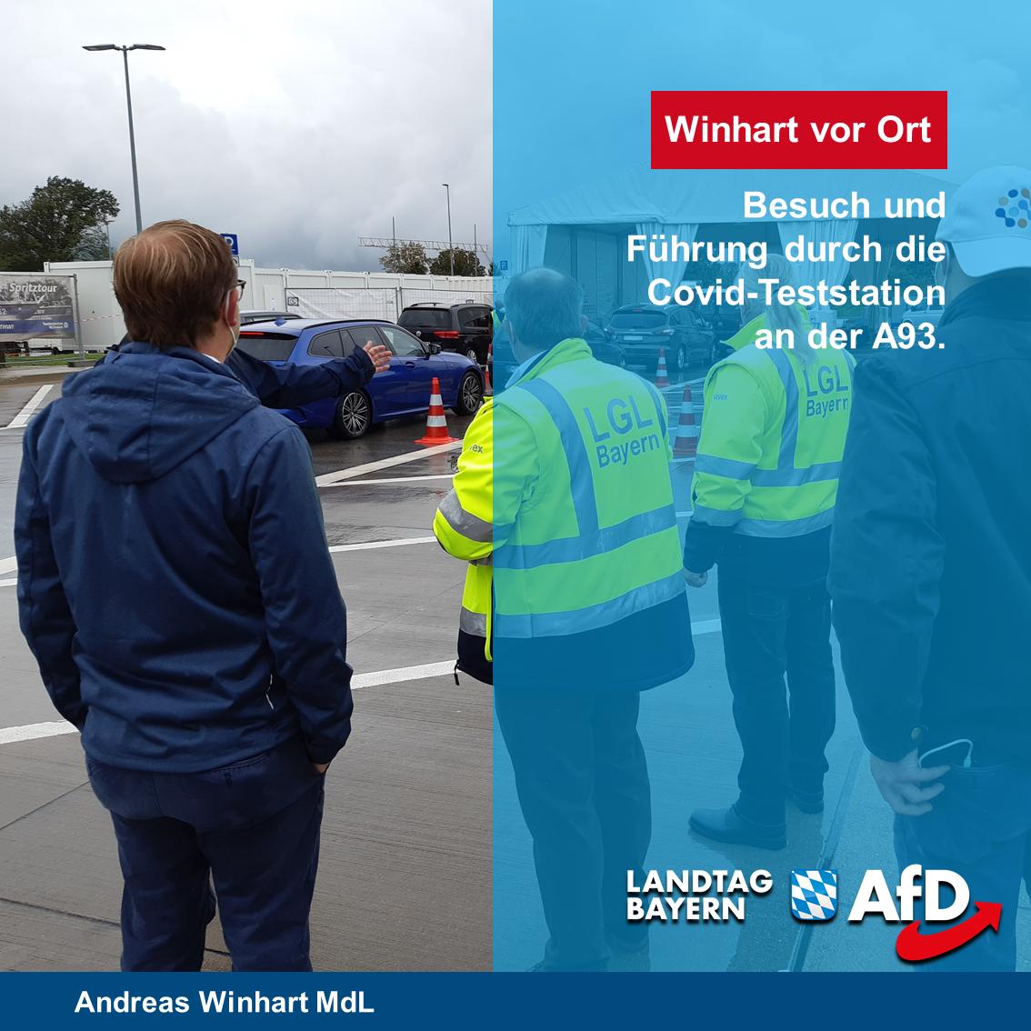 AfD-Landtagsabgeordneter Andreas Winhart besucht Corona-Teststation an der A93