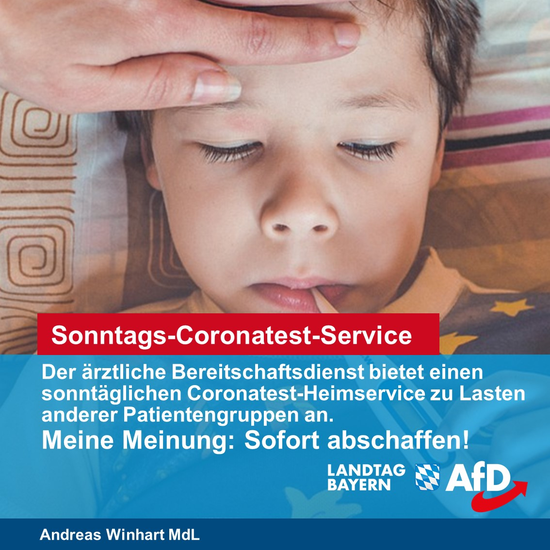 Sonntags-Coronatest-Dienst der Kassenärztlichen Vereinigung sofort abschaffen!
